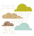 rain of heart with clouds autumn background vector image