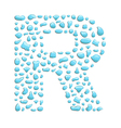 water letter r vector image