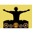 DJ and record decks with speakers vector image