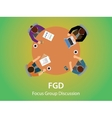 fgd focus group discussion team work together and vector image