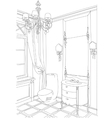Contemporary interior doodles bathroom vector image