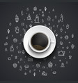 cup of black coffee stands on a black background vector image