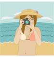 Photographer girl clicking on cameras button vector image