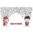 schoolgirl and schoolboy pupils back of school vector image