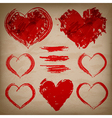 set of hand drawn hearts on paper background vector image