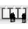 Peoples Silhouettes Looking on the Empty Frame in vector image