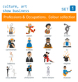 Professions and occupations outline icon set vector image