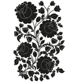 Black ornamental pattern of flowers and leaves vector image