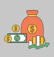 Color line finance money bag vector image