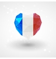 Flag of France in shape diamond glass heart vector image