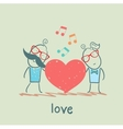 girl and guy listening to the melody of the heart vector image