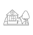 line home with design next to tree vector image