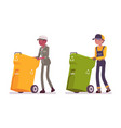 male and female waste collectors in uniform vector image