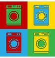 Pop art washing machine icons vector image