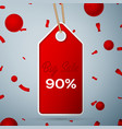 red pennant with an inscription big sale ninety vector image