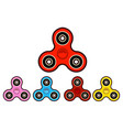 set of hand spinning machinefidget spinners of vector image