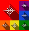 wind rose sign set of icons with flat vector image