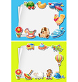 Frame design with toys on border vector image vector image