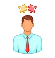 Man with puzzles over his head icon cartoon style vector image
