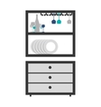 Gray scale medium cupboard with items of kitchen vector image