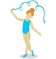Little girl gymnast with ribbon vector image