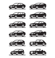 Different modern cars in angle vector image vector image
