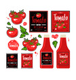 set of template labels for tomato ketchup vector image vector image