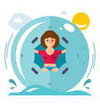 water zorbing concept flat style colorful vector image