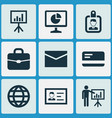job icons set collection of presenting man vector image