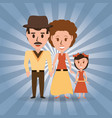 Retro family parents with their daughter vector image