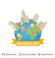 isometric city elements vector image