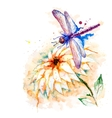 Water color dragonfly with lily flower vector image vector image