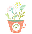 Herbal tea cup - retro style vector image vector image