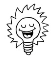 black and white happy lightbulb vector image