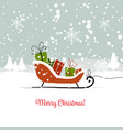 christmas card sledge with gifts for your design vector image