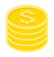coins of dollar flat icon business and finance vector image