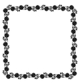 Delicate frame with black peony flowers vector image