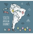 Doodle South America map on navy blue chalkboard vector image