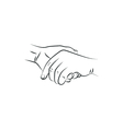 drawn female and a male person holding hands vector image