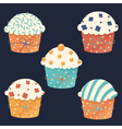 Five cupcakes vector image