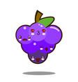 Grapes fruit cartoon character icon kawaii flat vector image