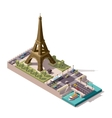 isometric map of the Eiffel Tower vector image