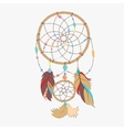Magical dreamcatcher with sacred feathers to catch vector image