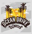 ocean drive miami beach florida summer design with vector image