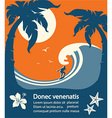Surfer and big sea wave tropical island vector image