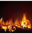 black background with flames vector image vector image