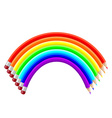 colored pencils in the shape of a rainbow vector image