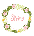 Floral wreath with leaves and flowers vector image