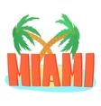 Miami palm logo cartoon style vector image