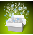 Open white gift box on the snow Christmas green vector image